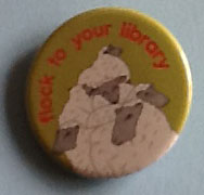 Picture of badge with sheep reading